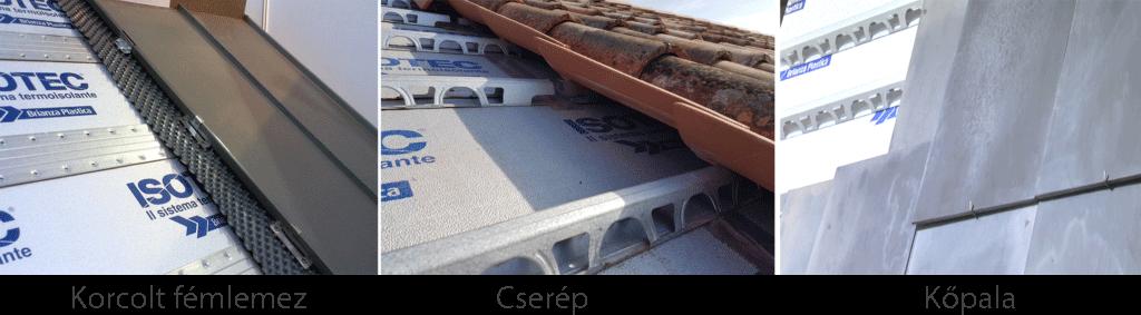 Isotec hőszigetelő panelekkel kompatibilis héjazat típusok